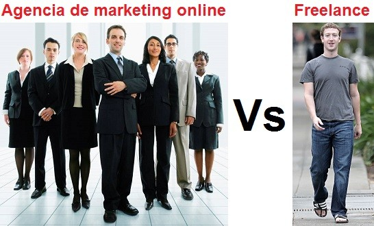 agencia de marketing online versus freelance
