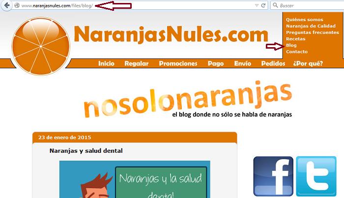 blog integrado dentro de la tienda online