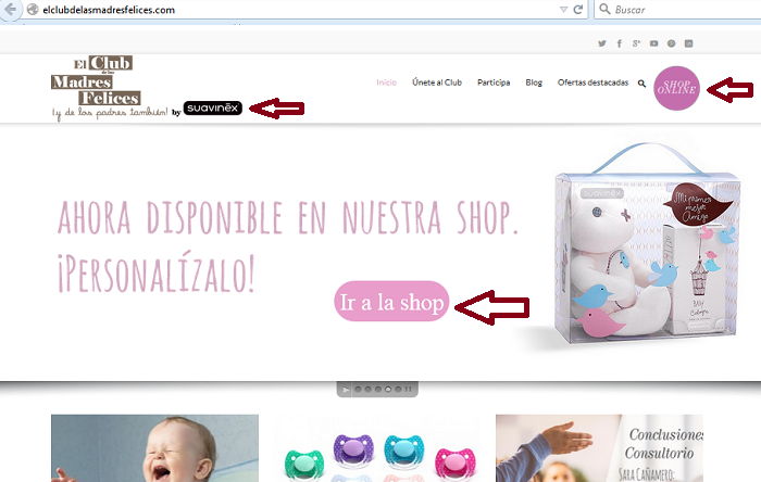 blog separado de la tienda online