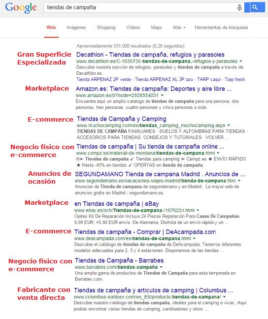 captura de ejemplo de competencia directa de tu e-commerce