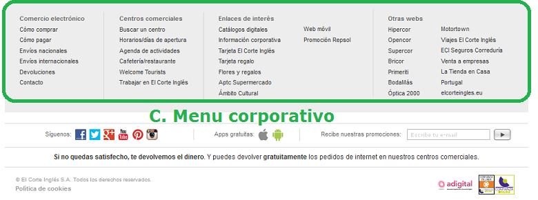 menu corporativo
