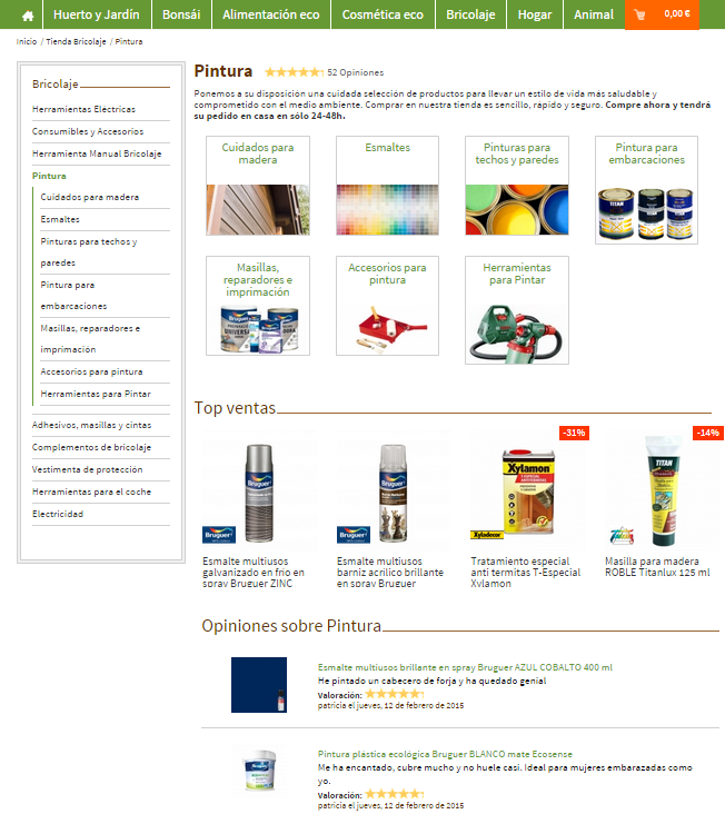 pagina de categorias de una tienda online