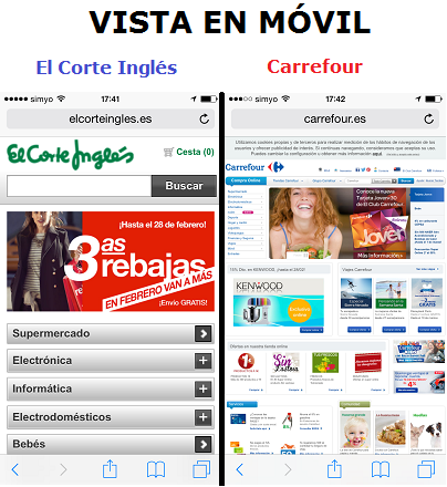 vista en movil de un e-commerce responsive y otro que no