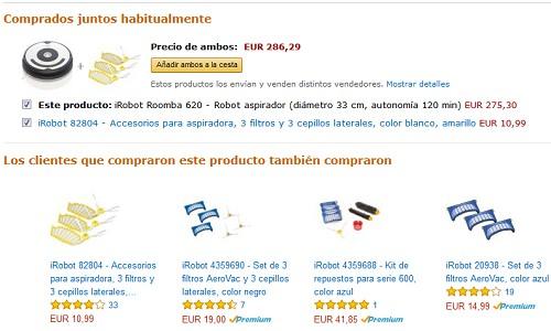 venta cruzada en la presentacion de un producto online