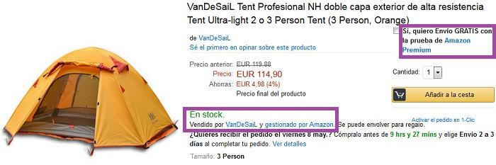 ficha de producto patrocinado por amazon