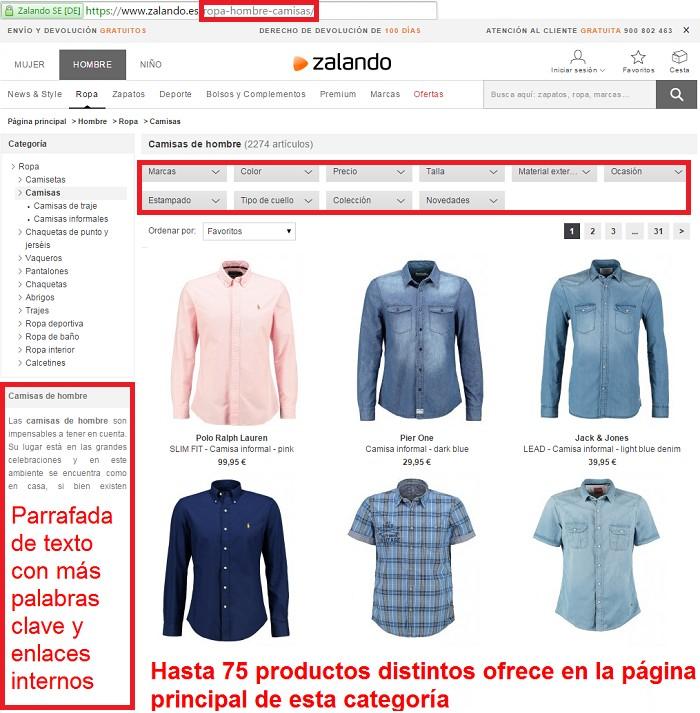 pagina de categorias de la tienda online zalando