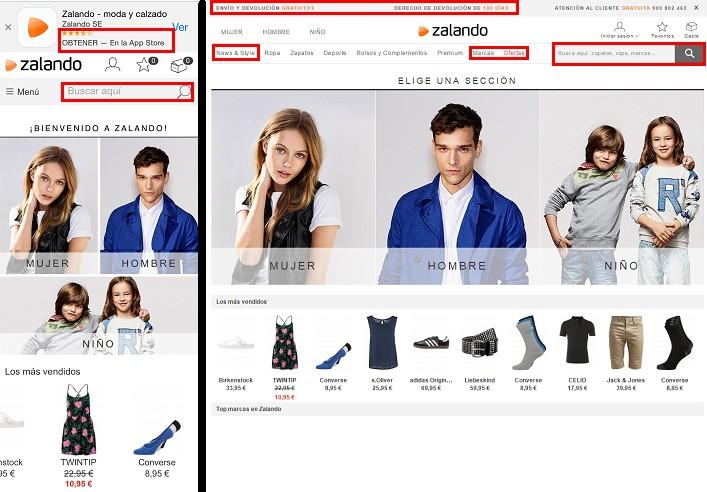 pagina de inicio de la tienda online zalando españa