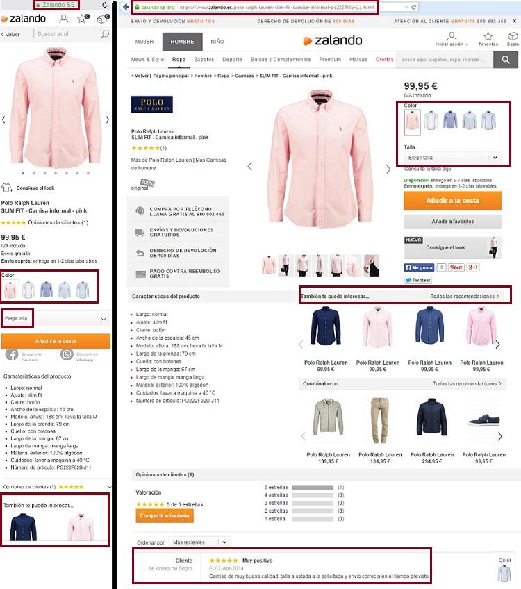 presentacion de un producto en la web de zalando