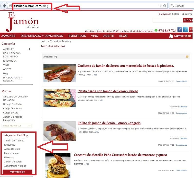 blog dentro de una tienda online