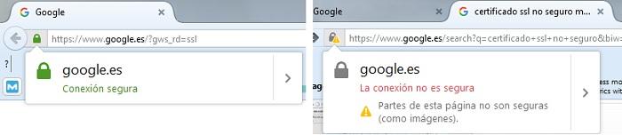 Diferencia entre un candado verde seguro en la web y otro que no lo es