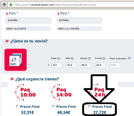 precio correos express nacional 24 horas