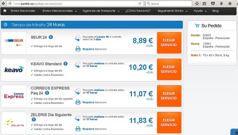 precios packlink nacional 24 horas