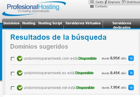 precios de profesional hosting compra de dominios