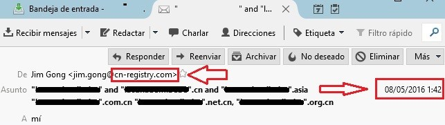 chinese domain scam email para confirmar registro dominio chino