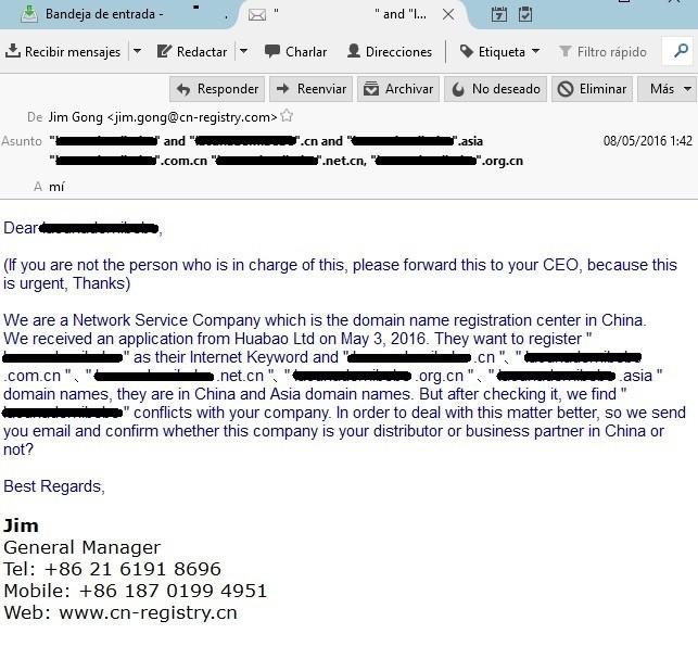 email de estafa para autorizar la compra de dominios chinos