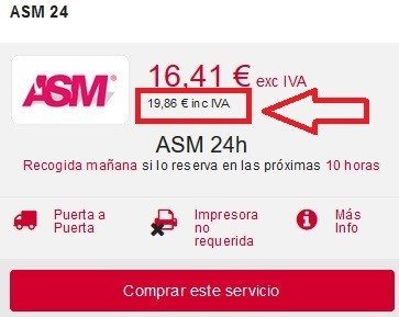 coste de enviar un paquete con asm red