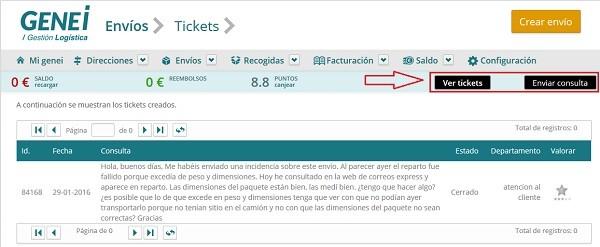 sitema de tickets en genei.es
