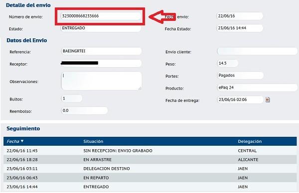 tracking seguimiento de la agencia elegida en comparador de envios