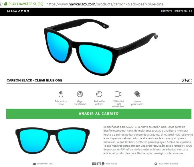 presentacion del producto de hawkers en su web