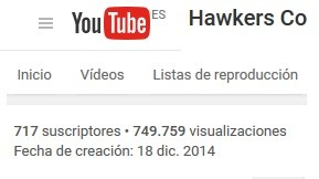 suscriptores youtube de hawkers co