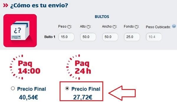 precio envio correos express agencia