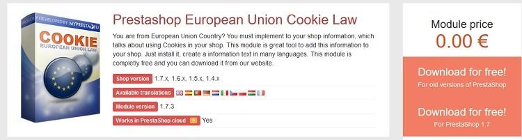 modulo de prestashop gratuito ley cookies