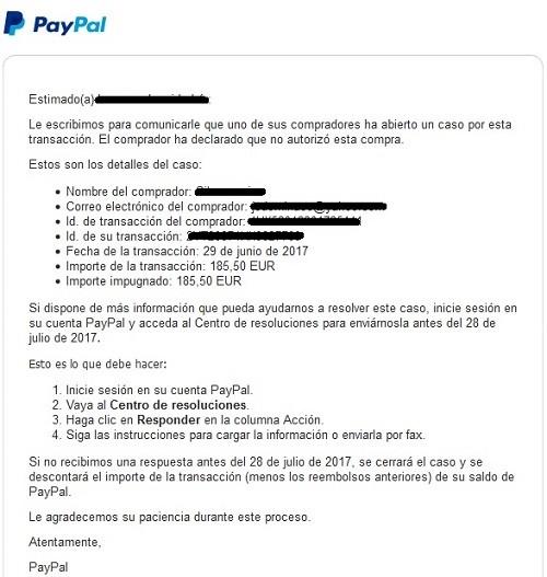 fraude a tienda online pago no autorizado en paypal