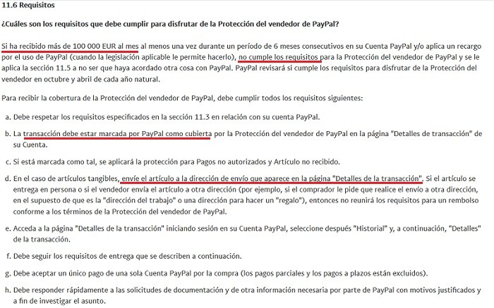 requisitos paypal proteccion vendedor